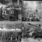 Clockwise from top left: Child labor circa 1923; Alexander Berkman addressing the IWW in Union Square, April 1914; depiction of a confrontation during the 1892 Homestead Strike; State Militia entering Homestead, PA. All images in the public domain.