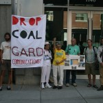 Activists in Portland deliver a warning to Portland PR firm Gard Communications, demanding that they drop client Ambre Energy over the controversial Morrow Pacific coal export proposal.