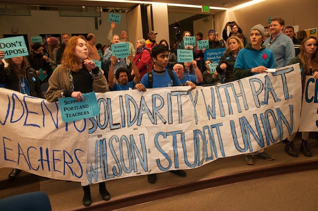 Students School PPS Board Amid Strong Show of Support for Teachers