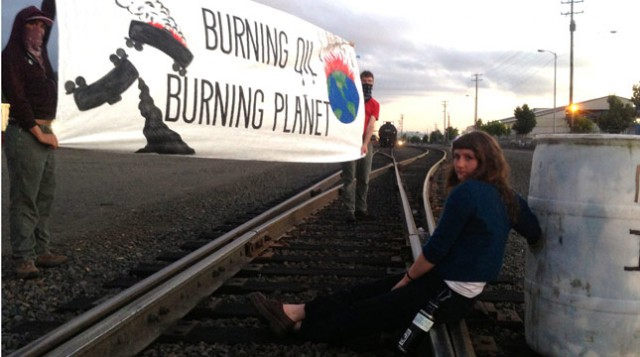 Portland Activist Commits Civil Disobedience in Effort to Disrupt Oil Transport