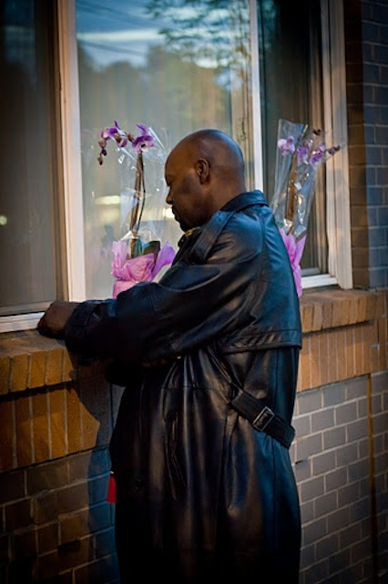 Fred Bryant at the monthly vigil for his son.  Photo by Denver Warner.