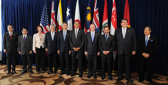 Leaders of TPP member states and prospective member states at a TPP summit in 2010.  Photo by Gobierno de Chile, via Wikipedia.
