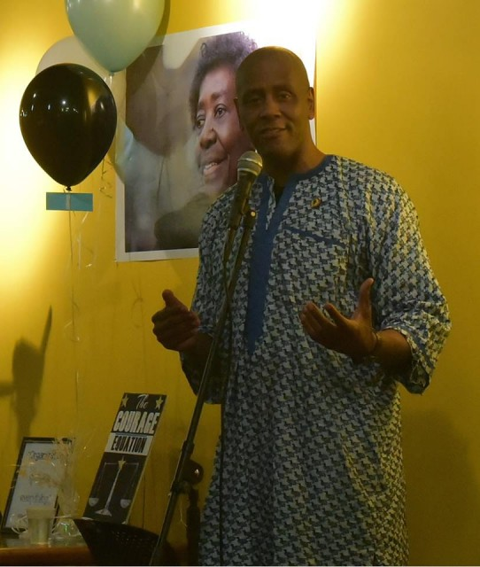 "Ahjamu Umi at the February book release celebration for ""The Courage Equation."""