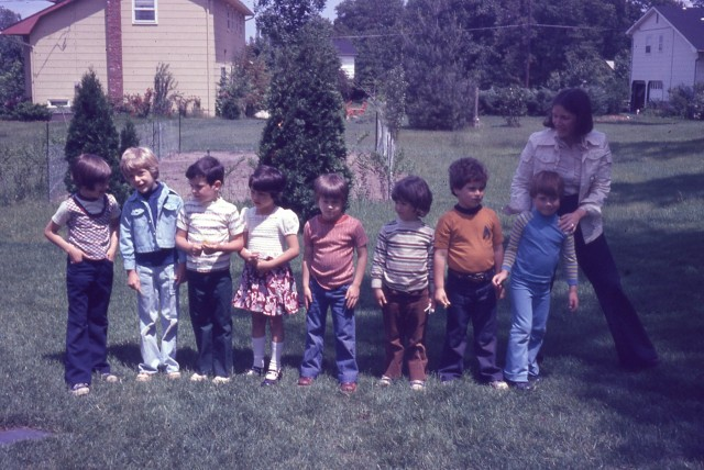 My birthday, 1976. From left to right: Joey, Paul, John, Tracy, Ray, Glenn, Matt, me, and my mom. I am not sure who took this--my dad may have been in the hospital with a broken leg.